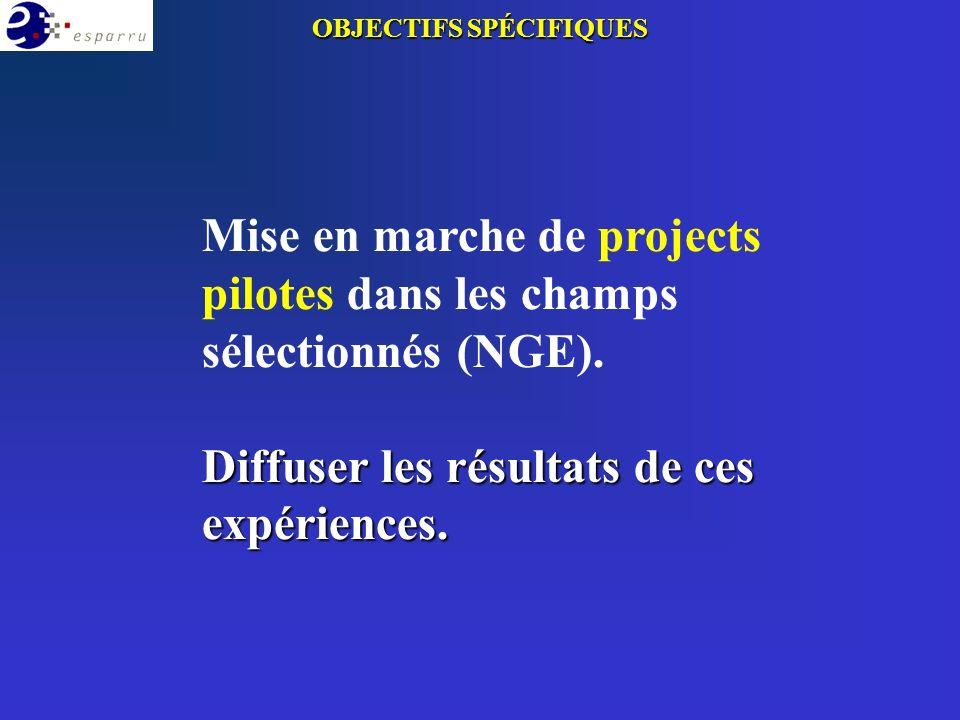 Mise en marche de projects pilotes dans les champs sélectionnés (NGE). Diffuser les résultats de ces expériences. OBJECTIFS SPÉCIFIQUES