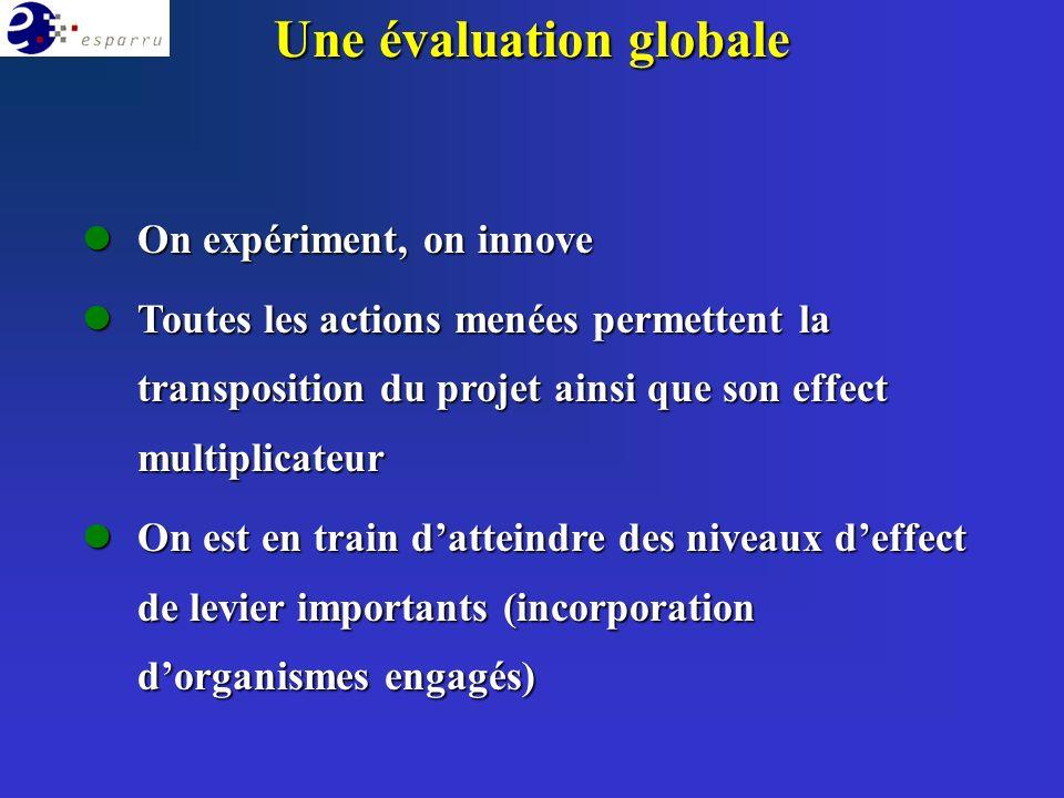 Une évaluation globale lOn expériment, on innove lToutes les actions menées permettent la transposition du projet ainsi que son effect multiplicateur