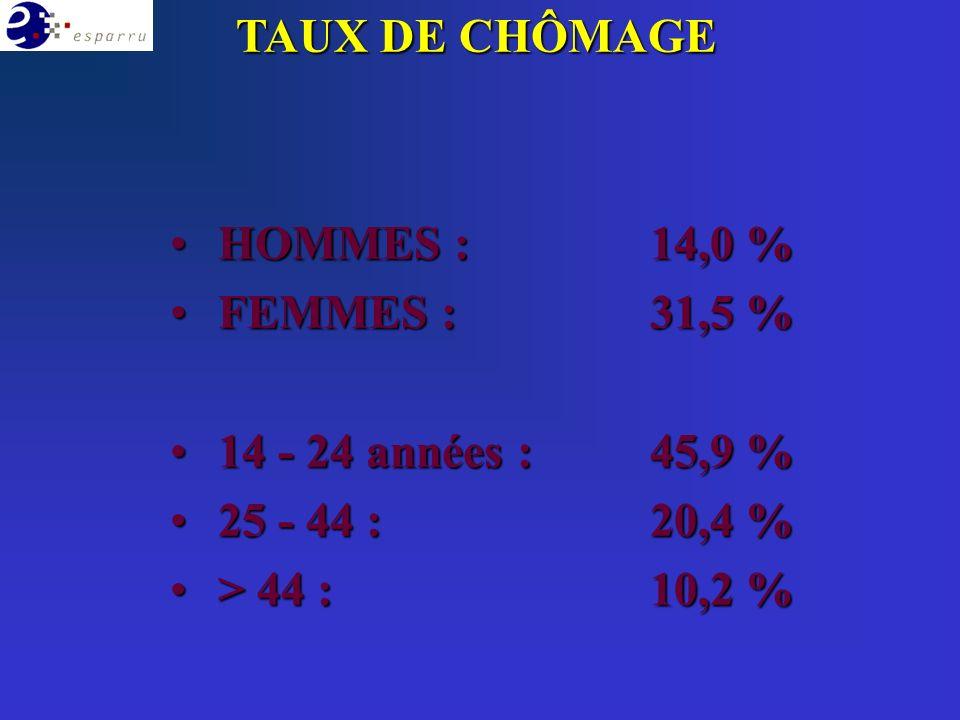 HOMMES :14,0 % HOMMES :14,0 % FEMMES : 31,5 % FEMMES : 31,5 % 14 - 24 années :45,9 % 14 - 24 années :45,9 % 25 - 44 :20,4 % 25 - 44 :20,4 % > 44 :10,2 % > 44 :10,2 % TAUX DE CHÔMAGE