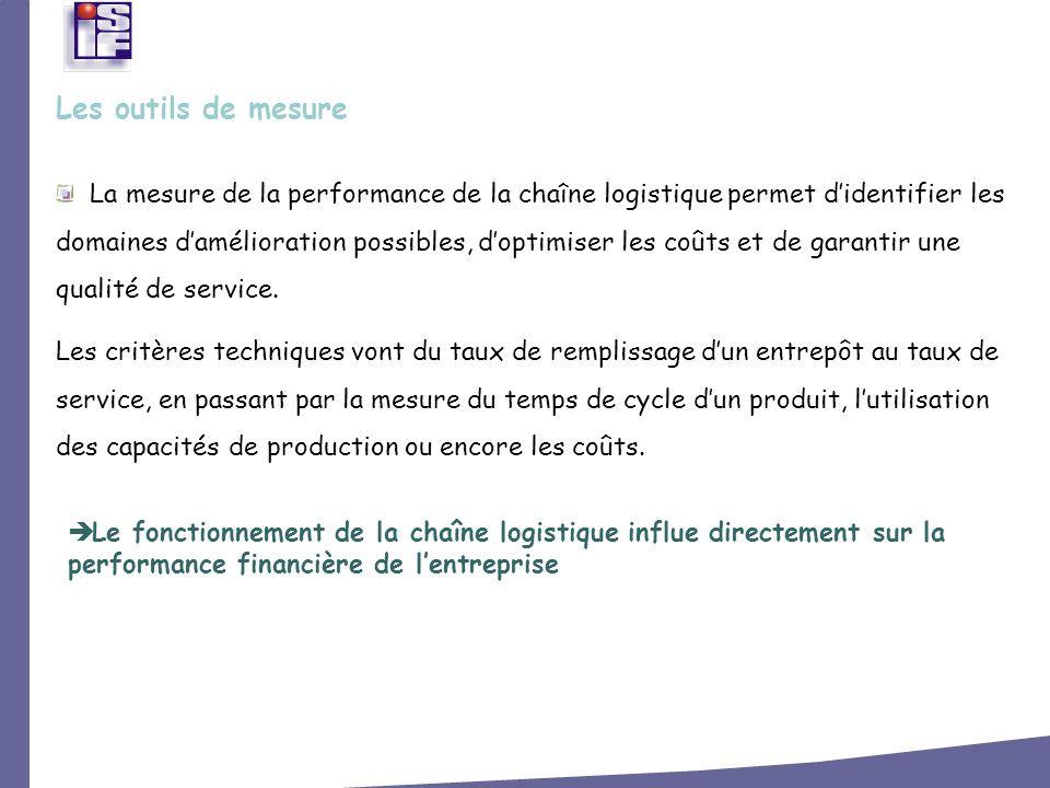 La mesure de la performance de la chaîne logistique permet didentifier les domaines damélioration possibles, doptimiser les coûts et de garantir une q