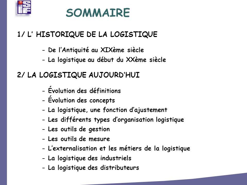 3/ LES ACTEURS DE LA LOGISTIQUE - Les chargeurs - Deux fonctions stratégiques - Les effectifs de la logistique - Le prestataire logistique - Les transporteurs 4/ LA SUPPLY CHAIN - Définition générale SOMMAIRE