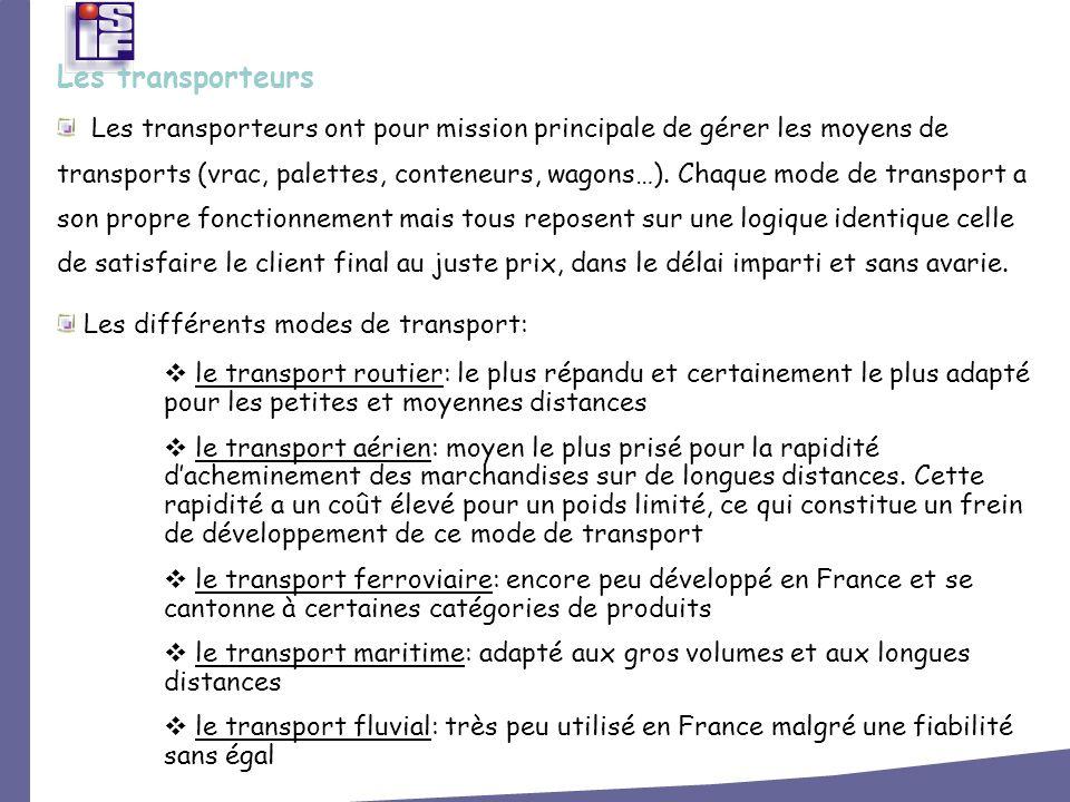Les transporteurs ont pour mission principale de gérer les moyens de transports (vrac, palettes, conteneurs, wagons…). Chaque mode de transport a son