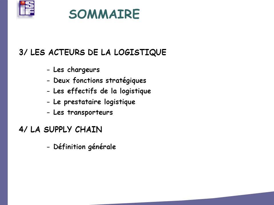 3/ LES ACTEURS DE LA LOGISTIQUE - Les chargeurs - Deux fonctions stratégiques - Les effectifs de la logistique - Le prestataire logistique - Les trans