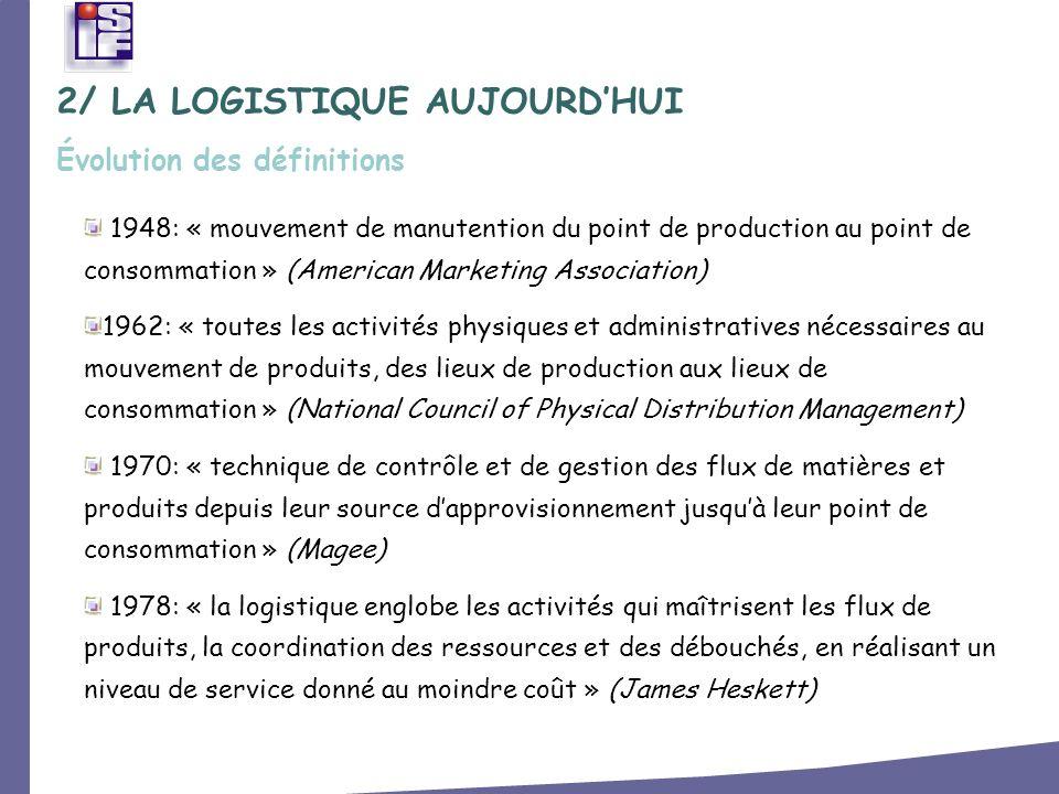 2005: « la logistique est une fonction qui a pour objectif de mettre à disposition, au moindre coût et avec la qualité requise, un produit, à lendroit et au moment où la demande existe.