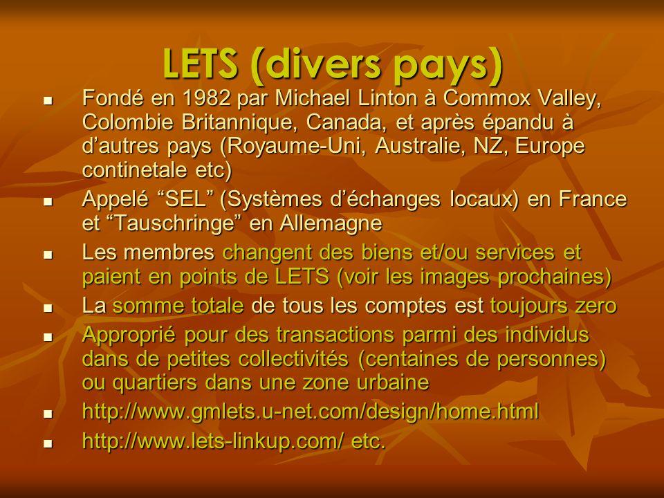 LETS (divers pays) Fondé en 1982 par Michael Linton à Commox Valley, Colombie Britannique, Canada, et après épandu à dautres pays (Royaume-Uni, Austra
