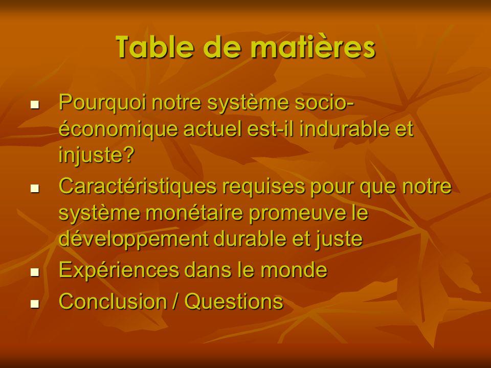 Table de Matières Pourquoi notre système socio- économique actuel est-il indurable et injuste.