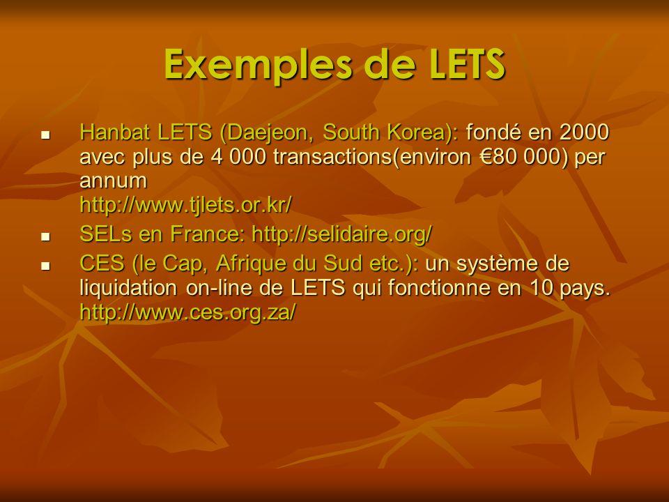 Exemples de LETS Hanbat LETS (Daejeon, South Korea): fondé en 2000 avec plus de 4 000 transactions(environ 80 000) per annum http://www.tjlets.or.kr/