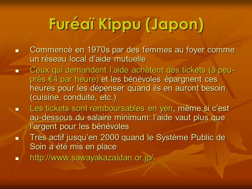 Furéaï Kippu (Japon) Commencé en 1970s par des femmes au foyer comme un réseau local daide mutuelle Commencé en 1970s par des femmes au foyer comme un