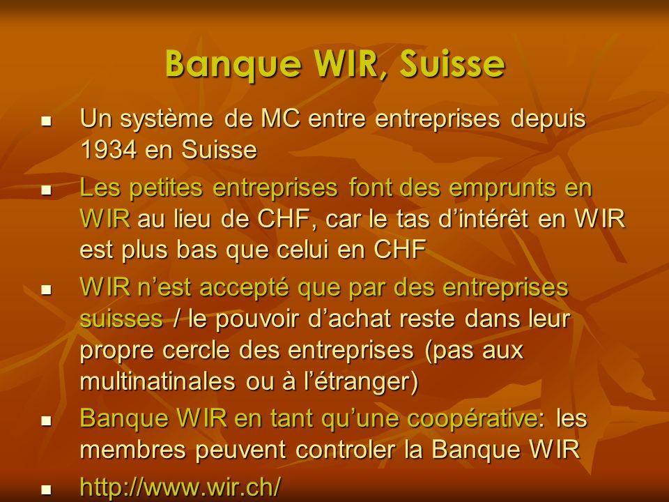 Banque WIR, Suisse Un système de MC entre entreprises depuis 1934 en Suisse Un système de MC entre entreprises depuis 1934 en Suisse Les petites entre