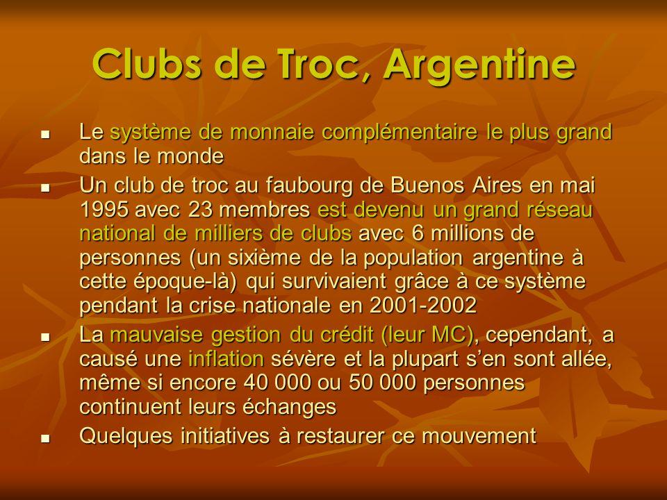 Clubs de Troc, Argentine Le système de monnaie complémentaire le plus grand dans le monde Le système de monnaie complémentaire le plus grand dans le m