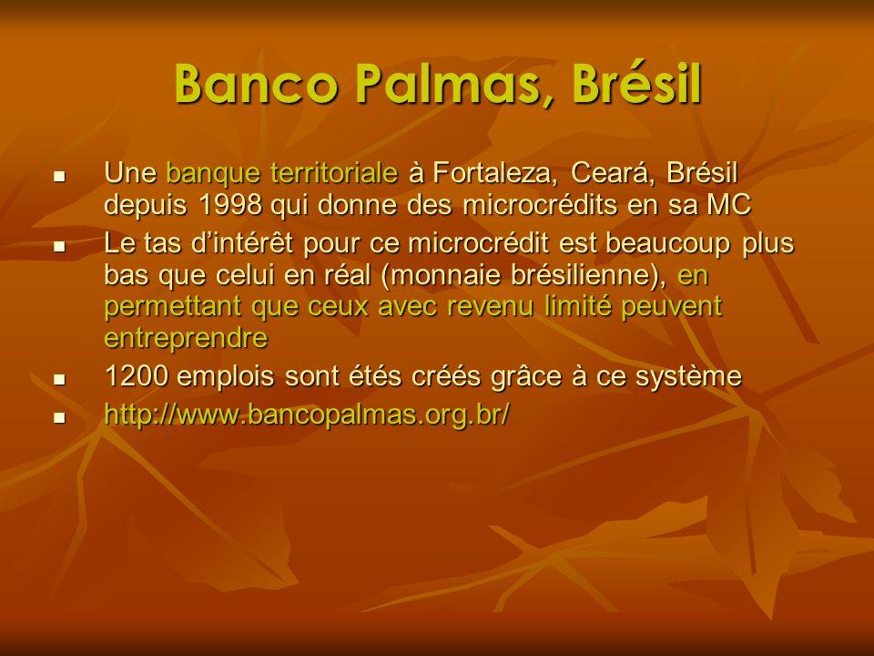 Banco Palmas, Brésil Une banque territoriale à Fortaleza, Ceará, Brésil depuis 1998 qui donne des microcrédits en sa MC Une banque territoriale à Fort