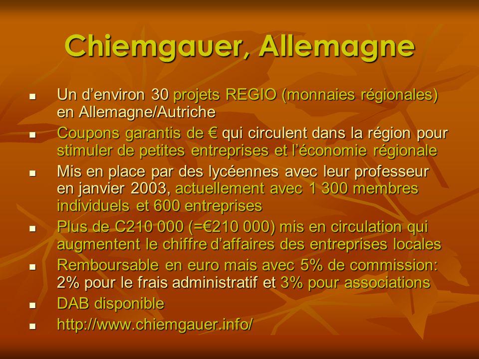 Chiemgauer, Allemagne Un denviron 30 projets REGIO (monnaies régionales) en Allemagne/Autriche Un denviron 30 projets REGIO (monnaies régionales) en A