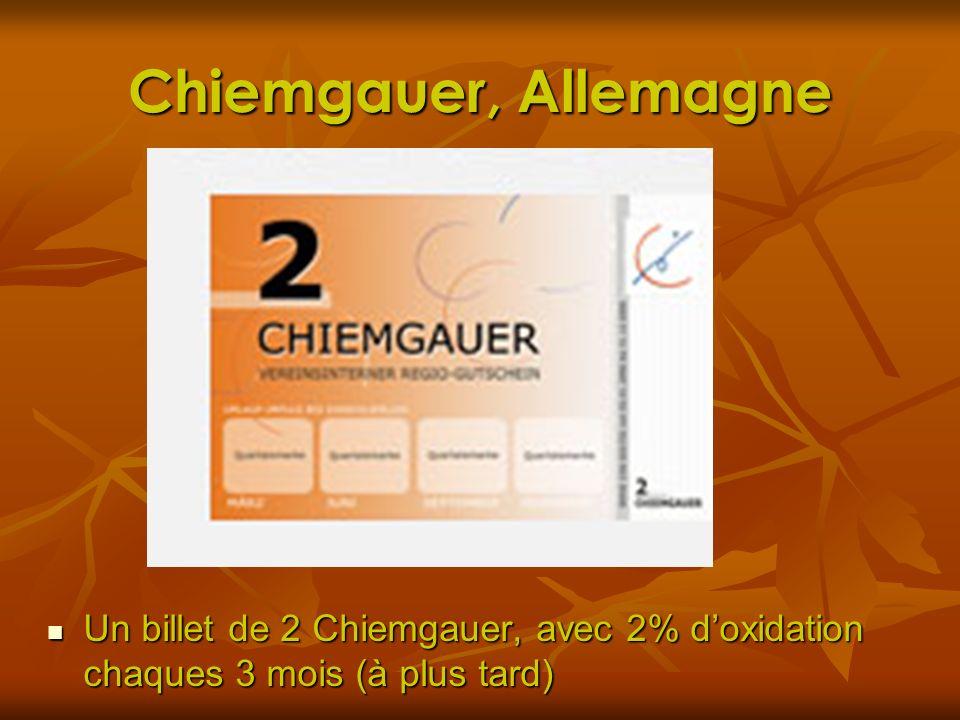 Chiemgauer, Allemagne Un billet de 2 Chiemgauer, avec 2% doxidation chaques 3 mois (à plus tard) Un billet de 2 Chiemgauer, avec 2% doxidation chaques