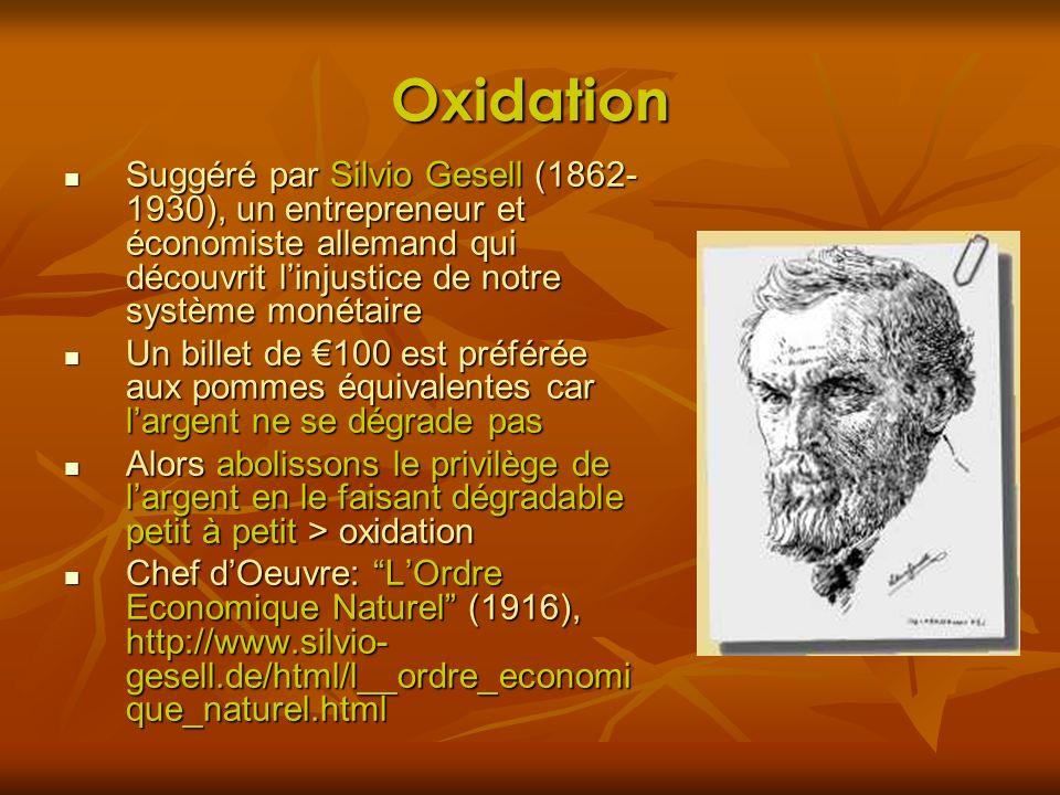 Oxidation Suggéré par Silvio Gesell (1862- 1930), un entrepreneur et économiste allemand qui découvrit linjustice de notre système monétaire Suggéré p
