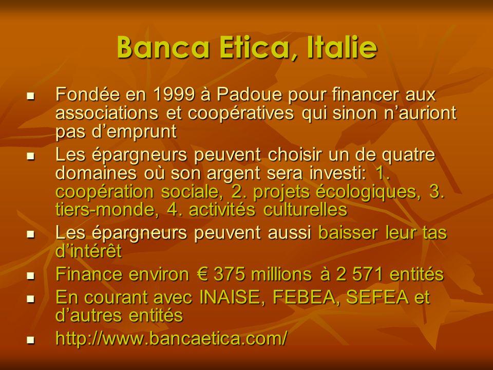Banca Etica, Italie Fondée en 1999 à Padoue pour financer aux associations et coopératives qui sinon nauriont pas demprunt Fondée en 1999 à Padoue pou