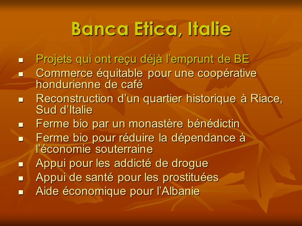 Banca Etica, Italie Projets qui ont reçu déjà lemprunt de BE Projets qui ont reçu déjà lemprunt de BE Commerce équitable pour une coopérative hondurie