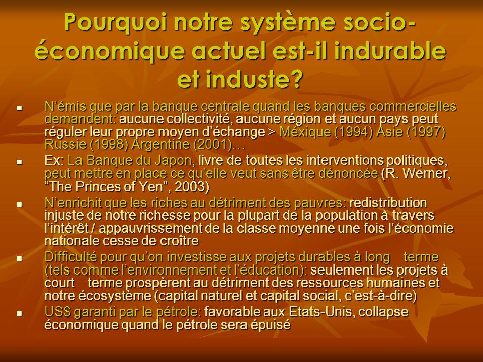 Pourquoi notre système socio- économique actuel est-il indurable et induste? Némis que par la banque centrale quand les banques commercielles demanden