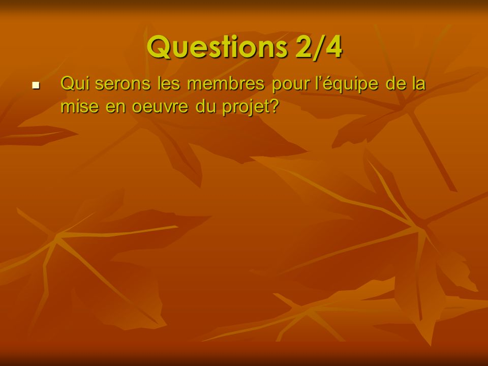 Questions 2/4 Qui serons les membres pour léquipe de la mise en oeuvre du projet? Qui serons les membres pour léquipe de la mise en oeuvre du projet?