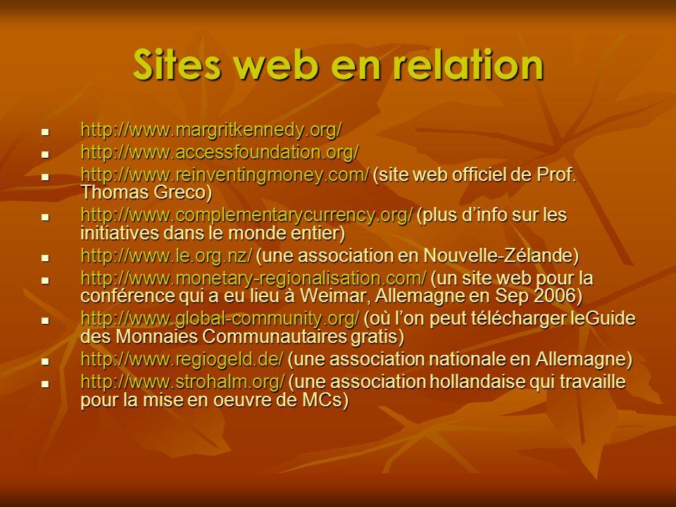 Sites web en relation http://www.margritkennedy.org/ http://www.margritkennedy.org/ http://www.accessfoundation.org/ http://www.accessfoundation.org/