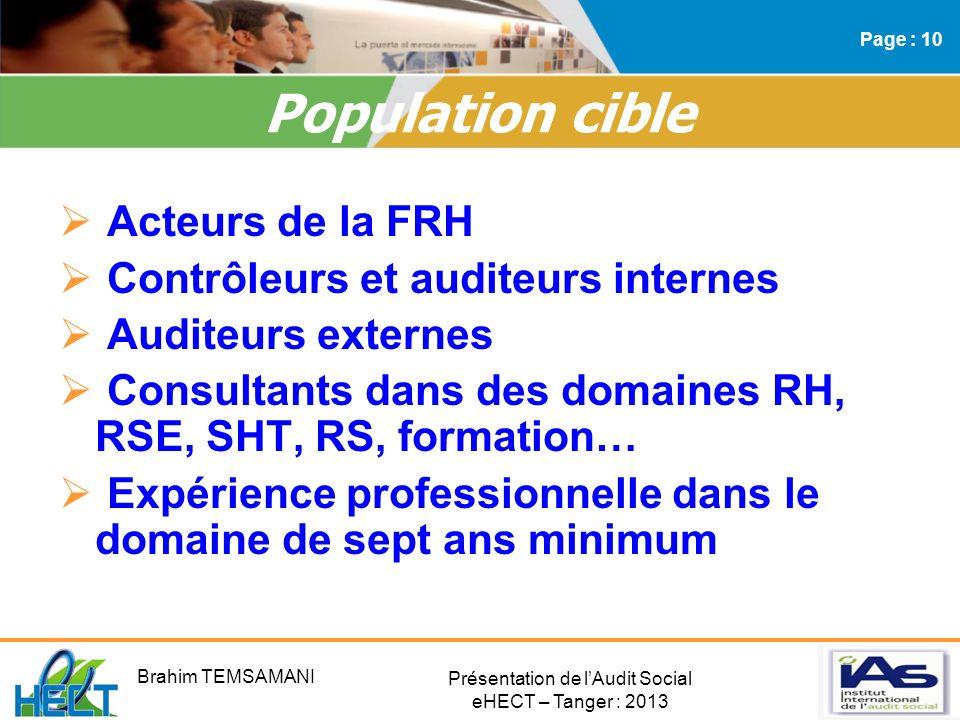 Présentation de lAudit Social eHECT – Tanger : 2013 Acteurs de la FRH Contrôleurs et auditeurs internes Auditeurs externes Consultants dans des domain