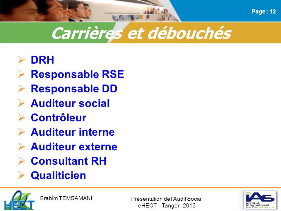 Présentation de lAudit Social eHECT – Tanger : 2013 DRH Responsable RSE Responsable DD Auditeur social Contrôleur Auditeur interne Auditeur externe Co