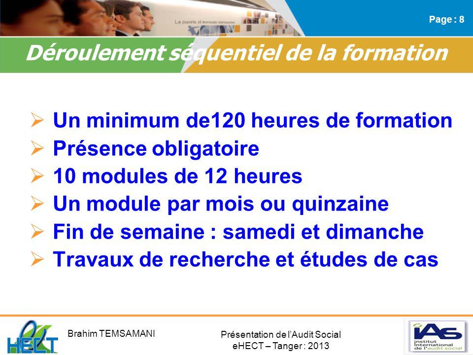 Présentation de lAudit Social eHECT – Tanger : 2013 Un minimum de120 heures de formation Présence obligatoire 10 modules de 12 heures Un module par mo