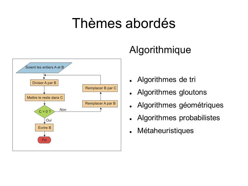 Thèmes abordés Algorithmique Algorithmes de tri Algorithmes gloutons Algorithmes géométriques Algorithmes probabilistes Métaheuristiques