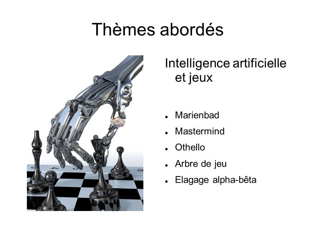 Thèmes abordés Intelligence artificielle et jeux Marienbad Mastermind Othello Arbre de jeu Elagage alpha-bêta