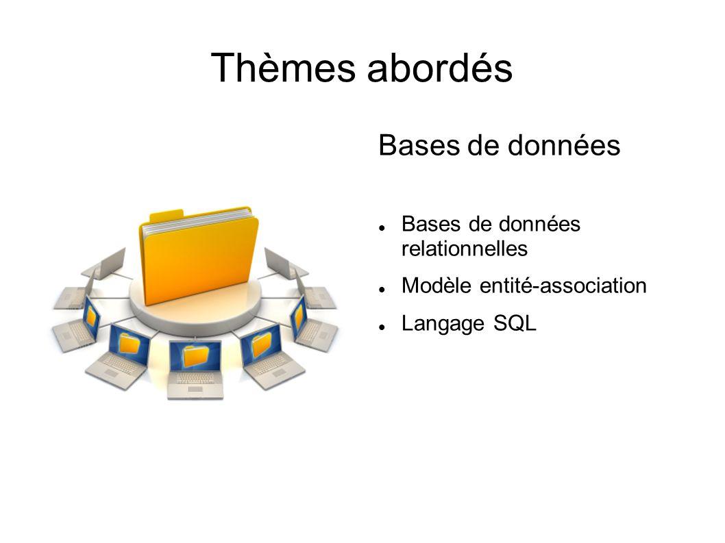 Thèmes abordés Bases de données Bases de données relationnelles Modèle entité-association Langage SQL