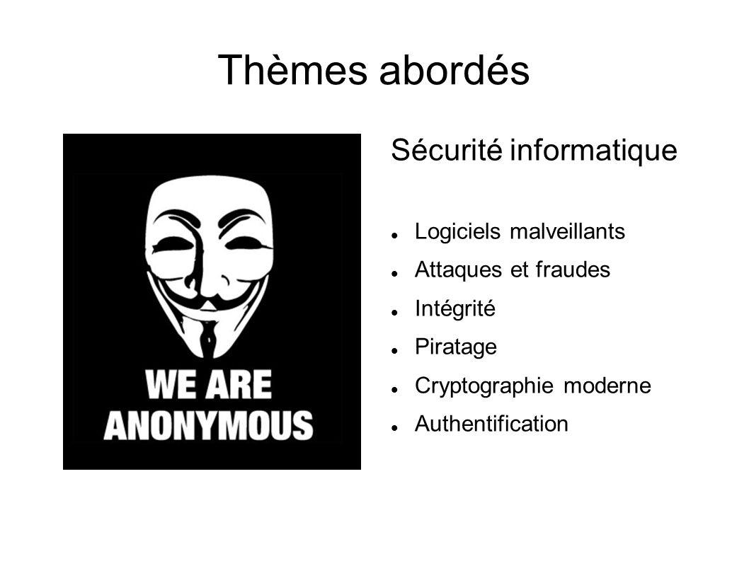 Thèmes abordés Sécurité informatique Logiciels malveillants Attaques et fraudes Intégrité Piratage Cryptographie moderne Authentification