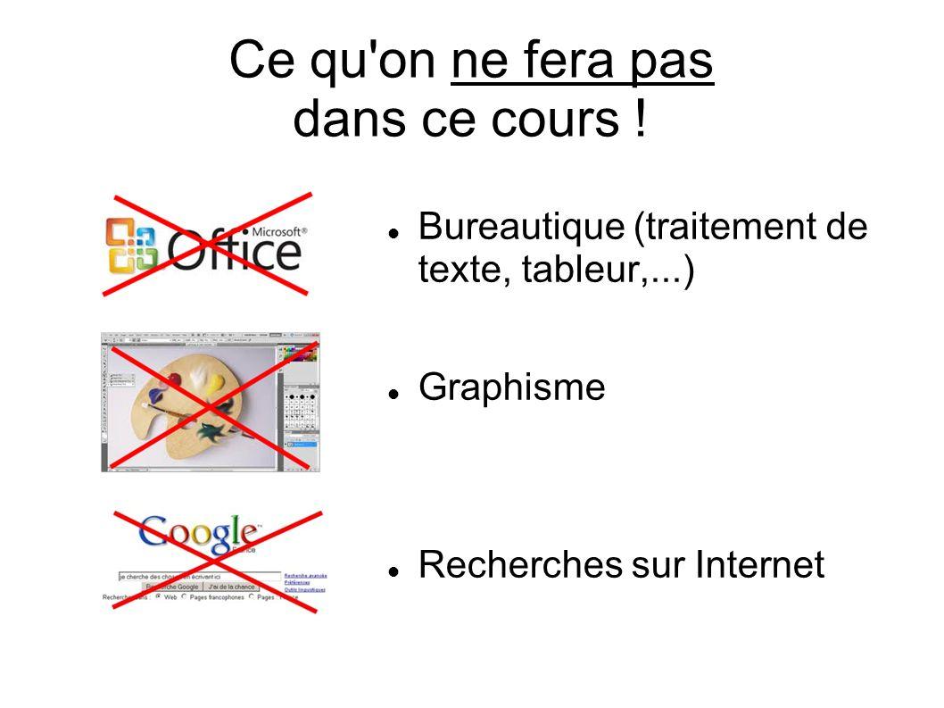 Ce qu'on ne fera pas dans ce cours ! Bureautique (traitement de texte, tableur,...) Graphisme Recherches sur Internet
