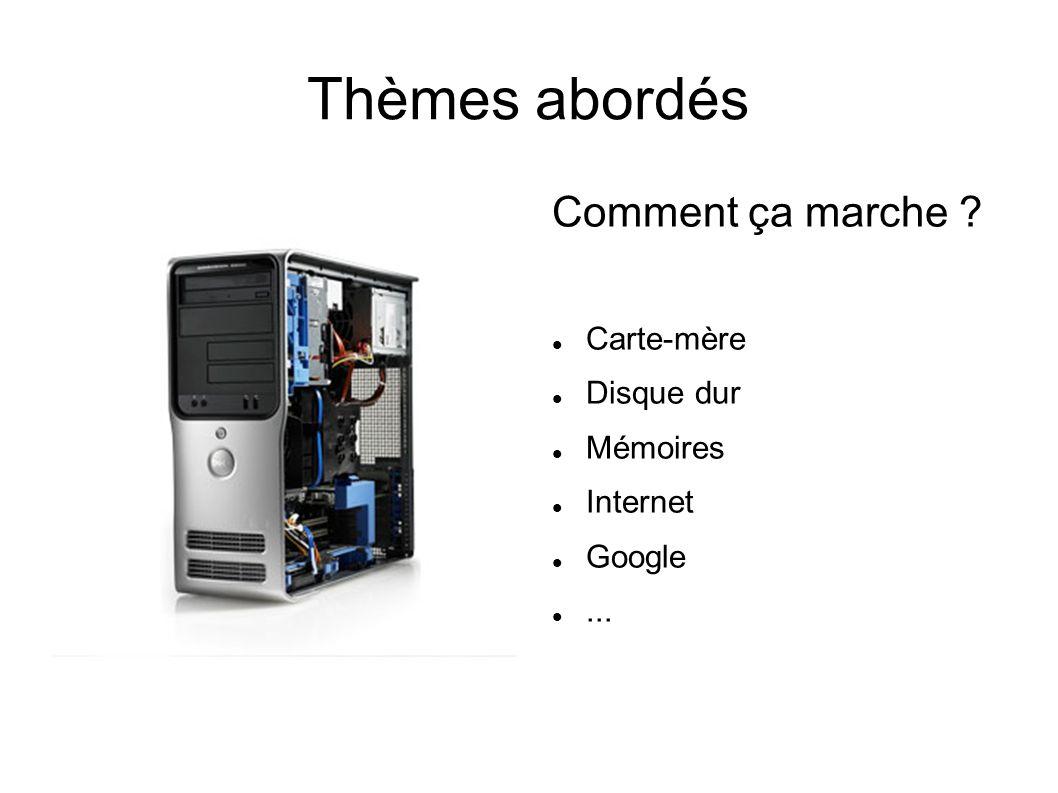 Thèmes abordés Comment ça marche ? Carte-mère Disque dur Mémoires Internet Google...