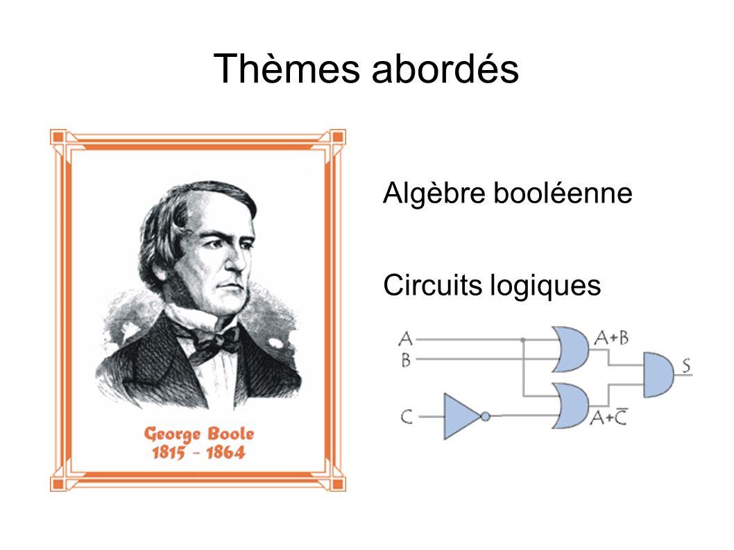 Thèmes abordés Algèbre booléenne Circuits logiques