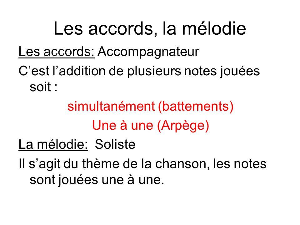 Les accords, la mélodie Les accords: Accompagnateur Cest laddition de plusieurs notes jouées soit : simultanément (battements) Une à une (Arpège) La m