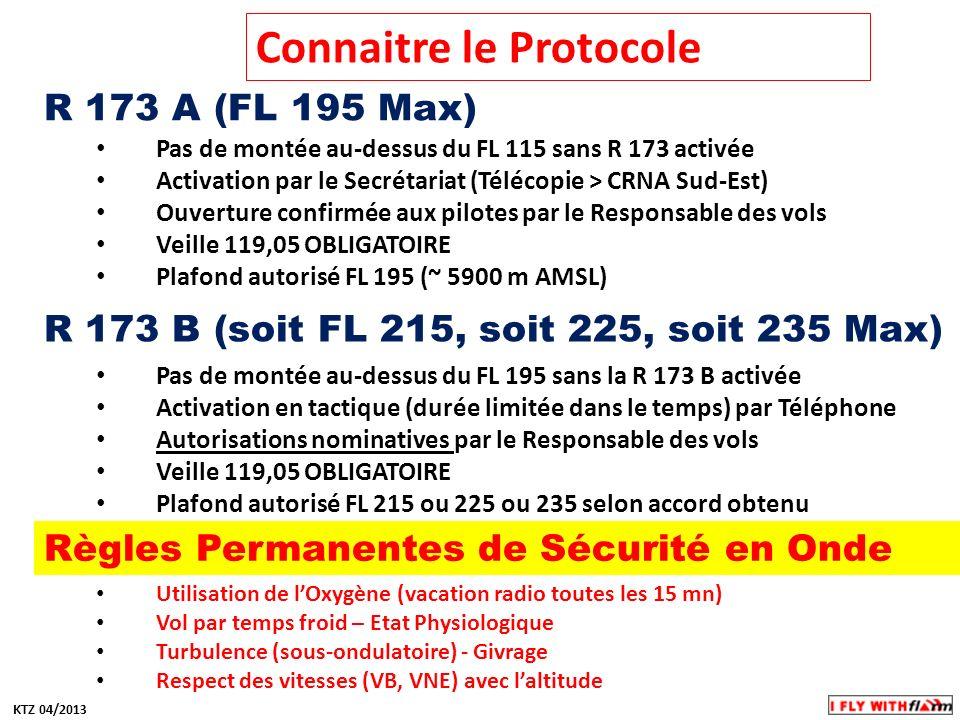 Connaitre le Protocole R 173 A (FL 195 Max) Pas de montée au-dessus du FL 115 sans R 173 activée Activation par le Secrétariat (Télécopie > CRNA Sud-E