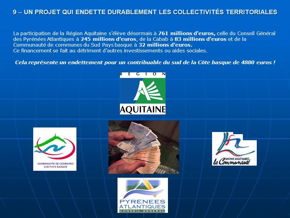 9 – UN PROJET QUI ENDETTE DURABLEMENT LES COLLECTIVITÉS TERRITORIALES La participation de la Région Aquitaine sélève désormais à 761 millions deuros,