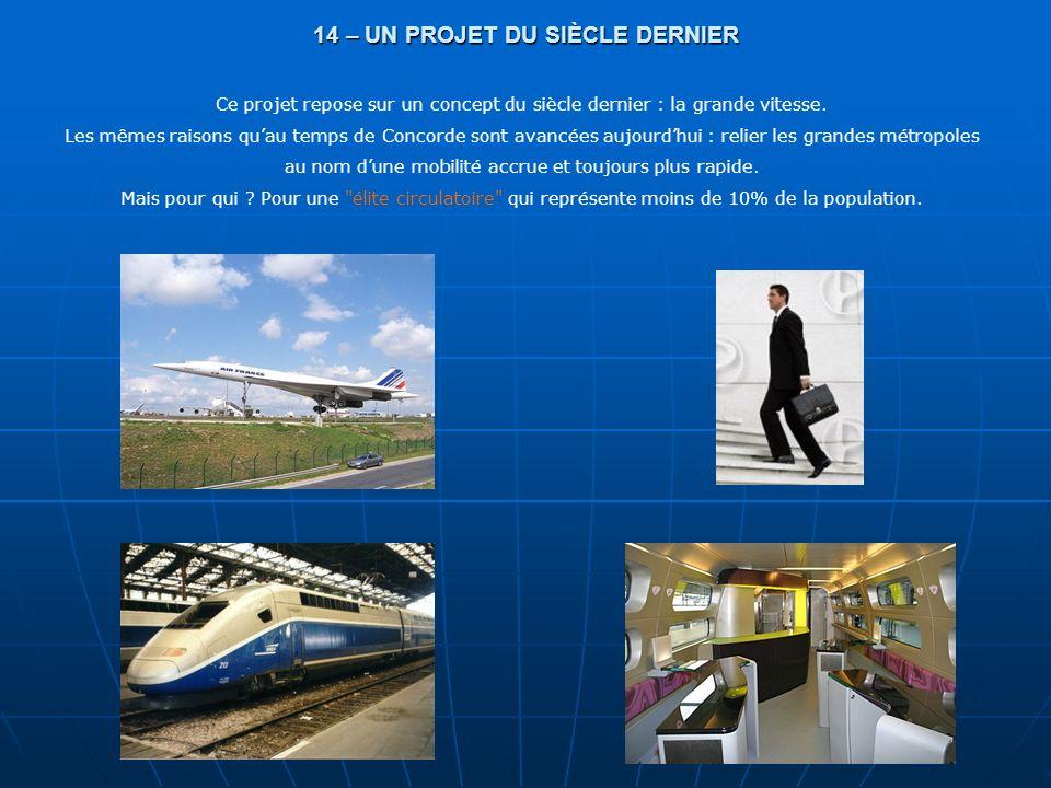 14 – UN PROJET DU SIÈCLE DERNIER Ce projet repose sur un concept du siècle dernier : la grande vitesse. Les mêmes raisons quau temps de Concorde sont