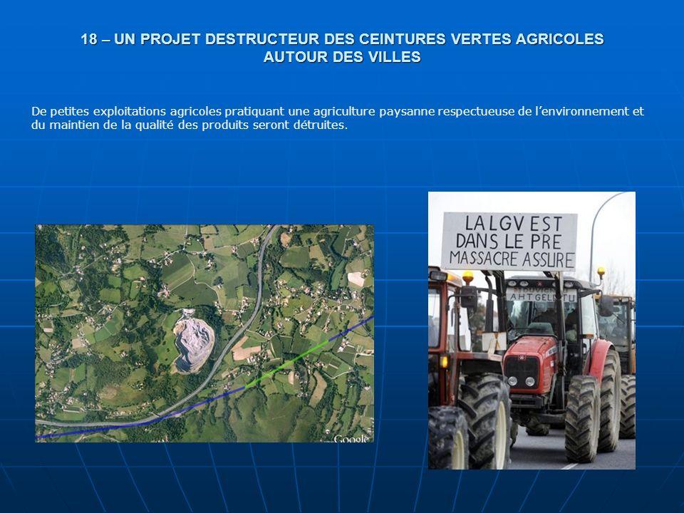 18 – UN PROJET DESTRUCTEUR DES CEINTURES VERTES AGRICOLES AUTOUR DES VILLES De petites exploitations agricoles pratiquant une agriculture paysanne res