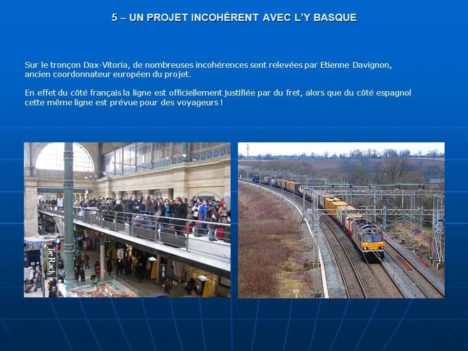 5 – UN PROJET INCOHÉRENT AVEC LY BASQUE Sur le tronçon Dax-Vitoria, de nombreuses incohérences sont relevées par Etienne Davignon, ancien coordonnateu