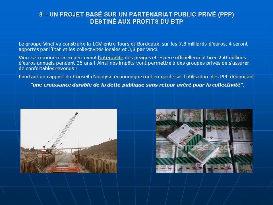 8 – UN PROJET BASÉ SUR UN PARTENARIAT PUBLIC PRIVÉ (PPP) DESTINÉ AUX PROFITS DU BTP Le groupe Vinci va construire la LGV entre Tours et Bordeaux, sur