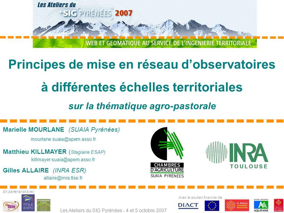 1 - État davancement et perspectives du volet agricole et pastoral du SIG Pyrénées (SUAIA Pyrénées) 2 - Principe de lObservatoire du Développement Rural (INRA) 3 - Liens entre ces deux observatoires Plan de lintervention