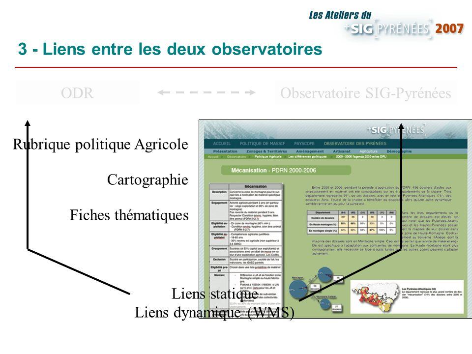 ODRObservatoire SIG-Pyrénées Fiches thématiques 3 - Liens entre les deux observatoires https://esrcarto.supagro.inra.fr Base de données Traitements Ca