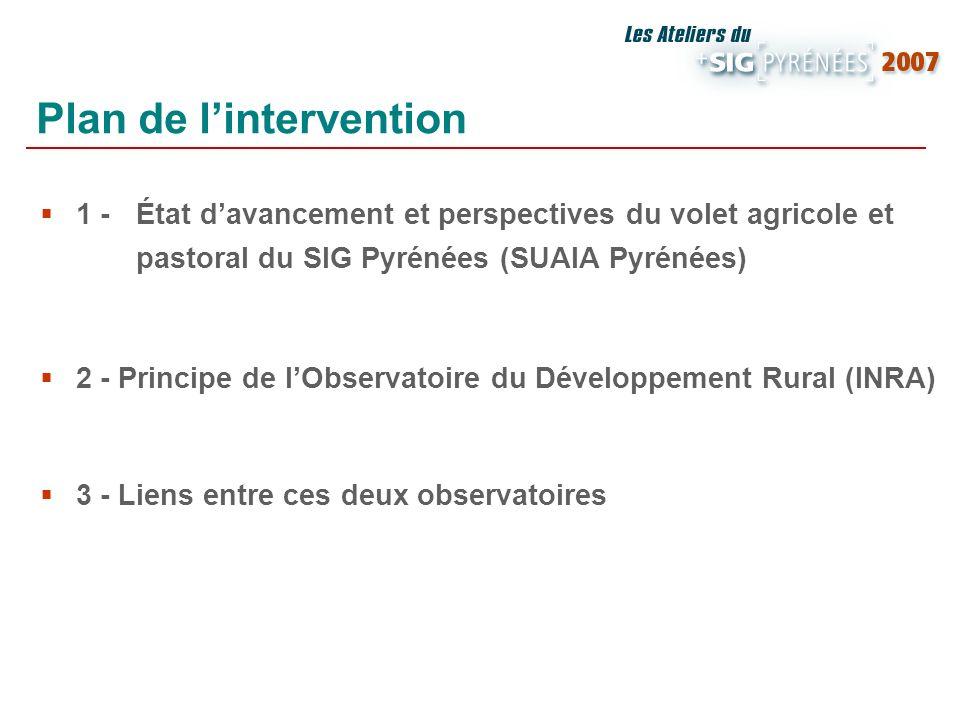 1 - État davancement et perspectives du volet agricole et pastoral du SIG Pyrénées (SUAIA Pyrénées) 2 - Principe de lObservatoire du Développement Rur
