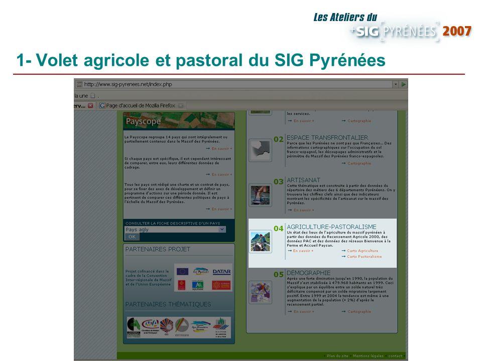 1- Volet agricole et pastoral du SIG Pyrénées Exploitations agricoles et pastorales Données RGA 2000 Études en partenariat avec la DRAF Midi- Pyrénées Des données et fiches de cadrage statistique Des cartographies interactives
