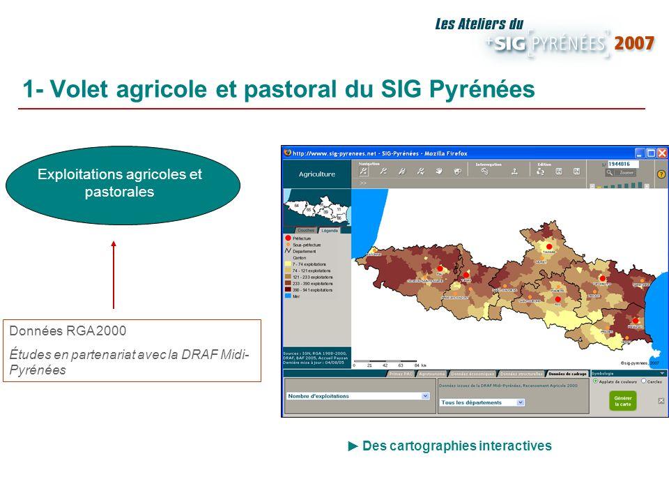 1- Volet agricole et pastoral du SIG Pyrénées Exploitations agricoles et pastorales Données RGA 2000 Études en partenariat avec la DRAF Midi- Pyrénées