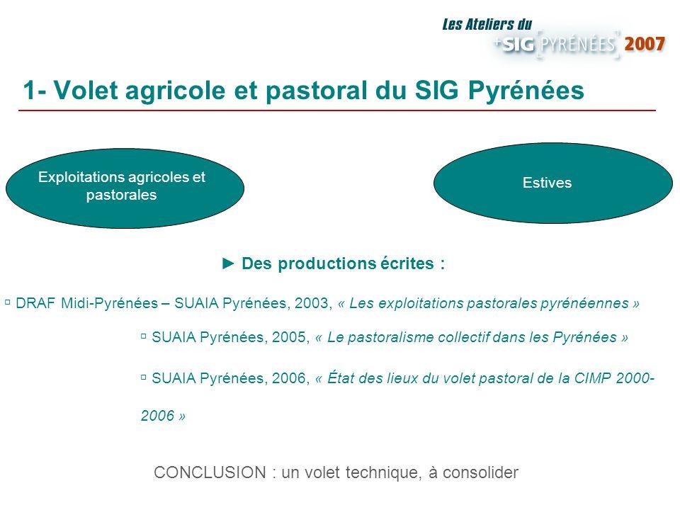 1- Volet agricole et pastoral du SIG Pyrénées Exploitations agricoles et pastorales Estives Des productions écrites : DRAF Midi-Pyrénées – SUAIA Pyrén