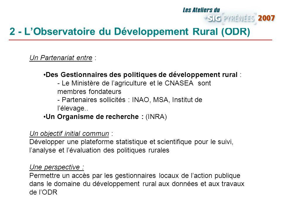 2 - LObservatoire du Développement Rural (ODR) Un Partenariat entre : Des Gestionnaires des politiques de développement rural : - Le Ministère de lagr