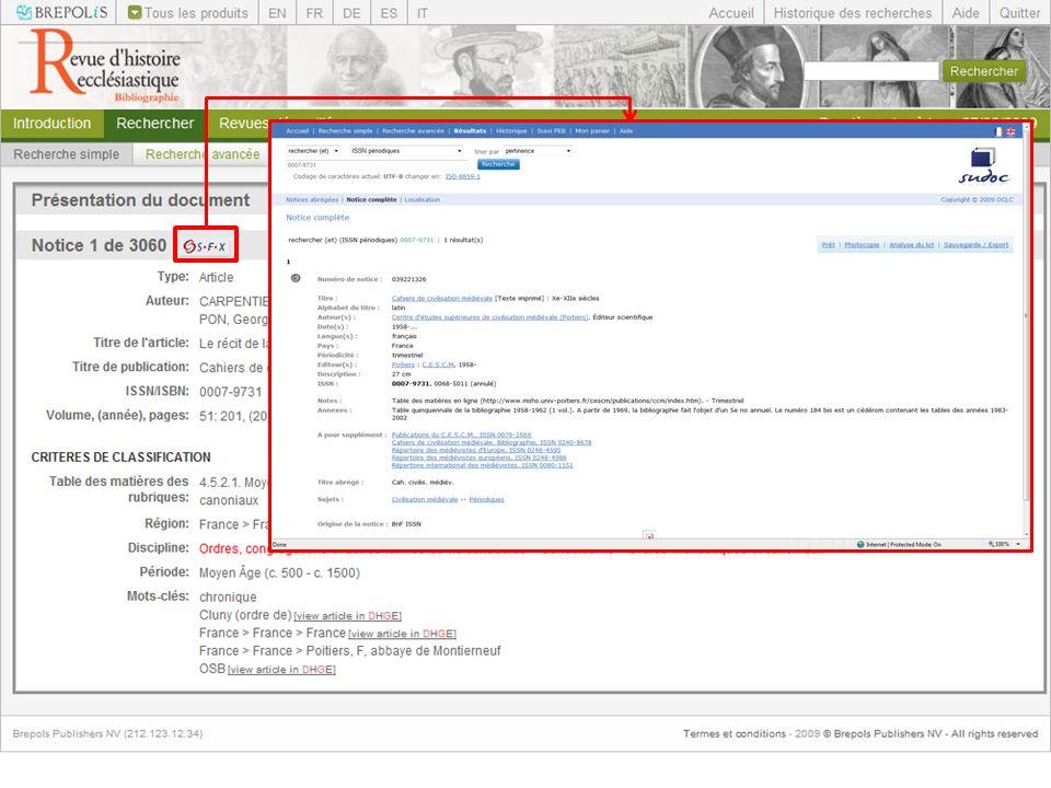 La base de données est compatible avec lOpenURL ce qui permet de définir des liens vers des ressources externes (catalogues de bibliothèque, Revues en