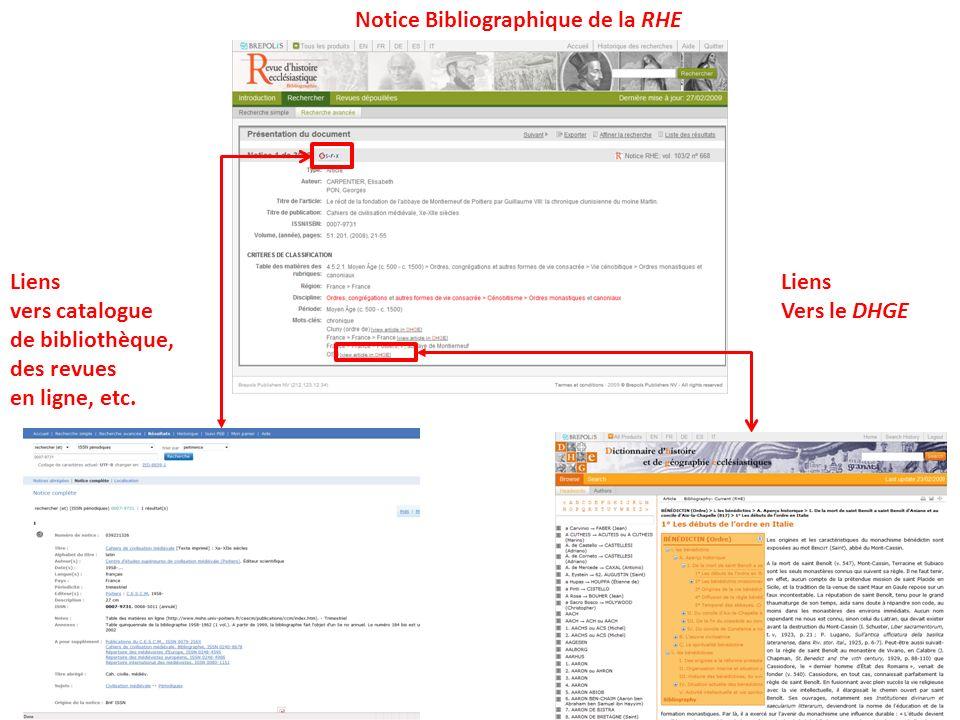 Notice Bibliographique de la RHE Liens vers catalogue de bibliothèque, des revues en ligne, etc. Liens Vers le DHGE