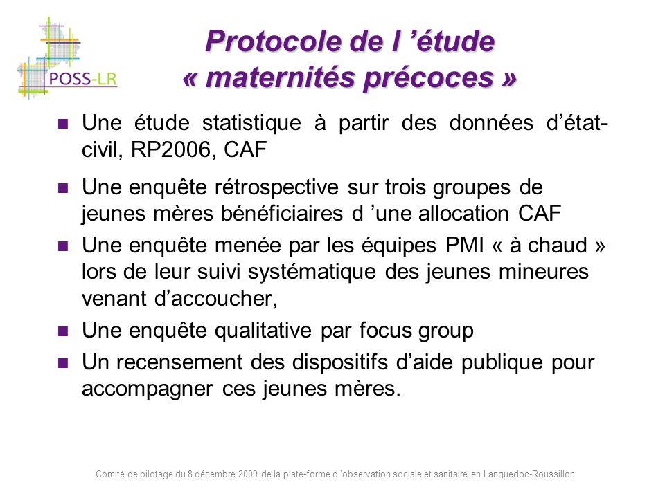 Comité de pilotage du 8 décembre 2009 de la plate-forme d observation sociale et sanitaire en Languedoc-Roussillon Protocole de l étude « maternités p